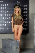 Hot blonde stewardess Danica gets naked at the airport