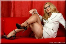 Lady Gina posing in stockings