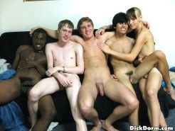 Horny boys share their each others cocks in this full on dorm room fucking gay p