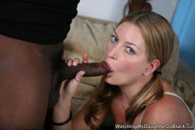 Wild daughter takes black cock in front of daddy