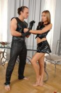 Latex latina Satin Bloom gets spanked in bondage by Master