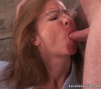Lorsha licks up all the cum