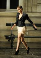 Emma Watson leggy in mini dress shooting a Lancome promo in Paris