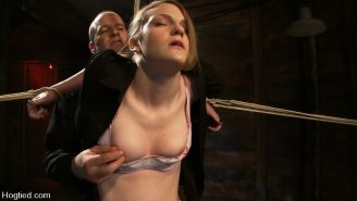 Ivy Mokhov in rope bamboo bondage and vibed to orgasm