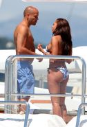 Melanie Brown showing off her bikini booty while rides her friend on the yacht i