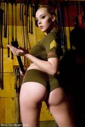 Annette Schwarz in army outfit with submissive ready to fuck sub