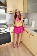 Crystel shows her hairy milf pussy in the kitchen