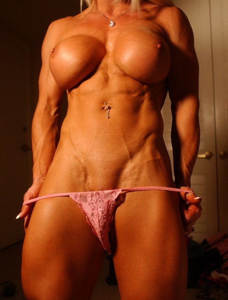 Muscle blonde babe with big tits teases in pink panties #71463745