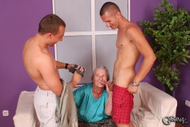 Two young guys love fucking this old grannys pussy #73250234