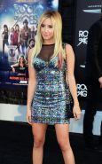 Ashley Tisdale amazingly hot in shiny tight mini dress at Rock of Ages premiere