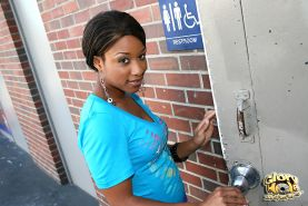 crazy ebony sucking off a white cock at a public restroom