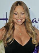 Mariah Carey showing huge cleavage at the Hallmark event