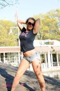 Cute tgirl Ashley George posing her tight teen body in public