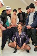 Rich brunette lady in fur coat gets bukkaked and pissed on