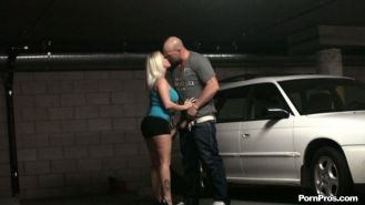 Pornstar Angel Vain caught fucking a parking lot