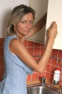 Horny Big Tits Blonde Spreading Trimmed Pussy In The Kitchen #77611949