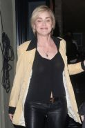 Sharon Stone braless wearing a see through shirt outside Craig's Restaurant in L