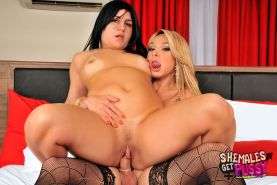 Sexy blonde shemale fucks a hot brunette with a big clit #79196054