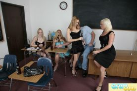 This class clown gets humiliated by four hot babes