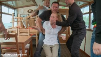 Tiny blonde Lalita Taylor fulfills her fantasy of being taken down by men on her