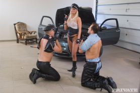 Ellen Peterson BDSM Scene With Two Leather Clad Mechanics