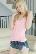 Skinny blonde teen with small tits