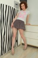 Perky petite hairy redhead amateur teen Crystal spreading her muff
