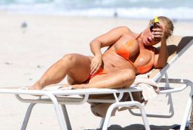 Nicole Coco Austin exposing sexy body and hot ass in thong on beach