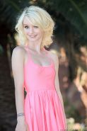 Tiny blonde Nubile Sammie Daniels flashes her pink juicy snatch outdoors