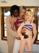 lusty blonde does ass to mouth with her hung black lover