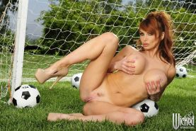 Taylor Wane gets nailed by a coach during soccer practice