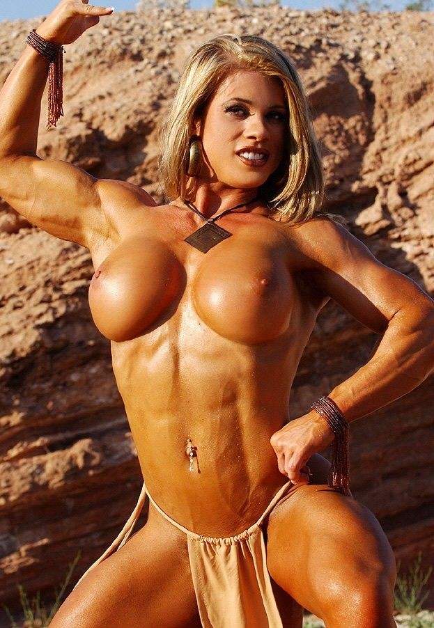 Musclar blonde babe with big clit playing naked outdoors #71479463