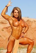 Musclar blonde babe with big clit playing naked outdoors #71479468
