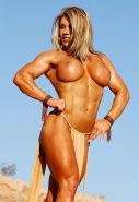 Musclar blonde babe with big clit playing naked outdoors #71479498