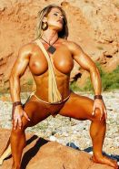 Musclar blonde babe with big clit playing naked outdoors #71479514