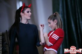 Celine Doll college girl in sexy catfight with devil Mira