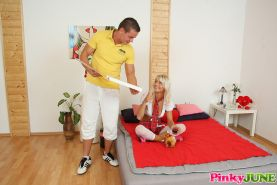 Blond and blue-eyed teen fucked hard by pizza delivery guy