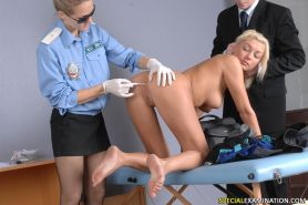 Scared babe speculumed at customs exam