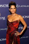 Halle Berry busty wearing a strapless red dress at The BET Honors 2013 in Washin