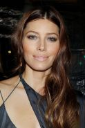 Jessica Biel showing huge cleavage in low cut gray dress at Playing For Keeps pr