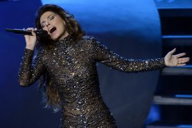Shania Twain in partially see-through skin tight jumpsuit performing live at Sha