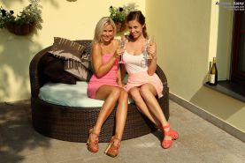Lesbian Babes Play with Wine Bottle and Double Dildo