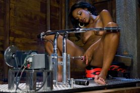 Hot black amateur girl Cadence Cohstly railed by fuckingmachines and her pussy d