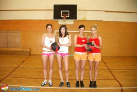 Schoolgirls playing basketball naked