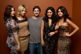 Selena Gomez shows huge cleavage wearing a low cut dress for 'Spring Breakers' p