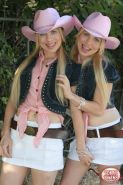 Cow girl twins gets naked to show their small tits