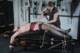 Lesbian table torture and spider gagged amateur submissive punis