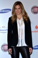 Bar Refaeli wearing leather pants  see through to bra shirt at Sanremo photocall