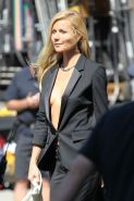 Gwyneth Paltrow braless showing huge cleavage on the set of a Hugo Boss campaign