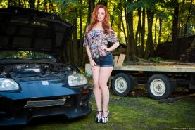 Ella Hughes gets her butt poked by the car mechani